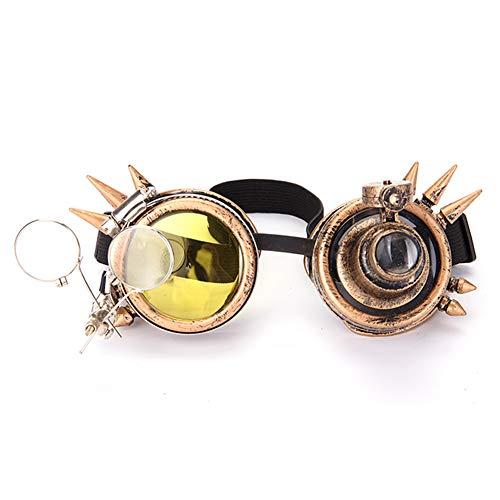 Dodoing Brille im viktorianischen Stil, Steampunk, Doppel-Okularlupe Schweißen Punk Gothic Brille Gr. Einheitsgröße, gelb