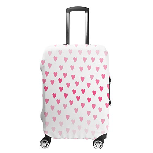 CHEHONG Suitcase Cover Luggage Cover Minimalistic Gradient Hearts Pink Travel Trolley Case Protective Washable Polyester Fiber Elastic Dustproof Fits 26-28 Inch