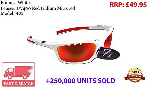 Rayzor Profesionales Ligeros UV400Blanco Deportes Wrap Golf Gafas de Sol, con un Iridium Efecto Espejo Rojo con Ranuras de ventilación antideslumbrante Lente