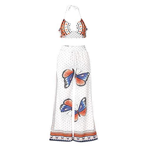 LUCSUN Conjunto de 2 piezas para mujer, bohemio, estampado de mariposas, estampado de flores, pantalones largos