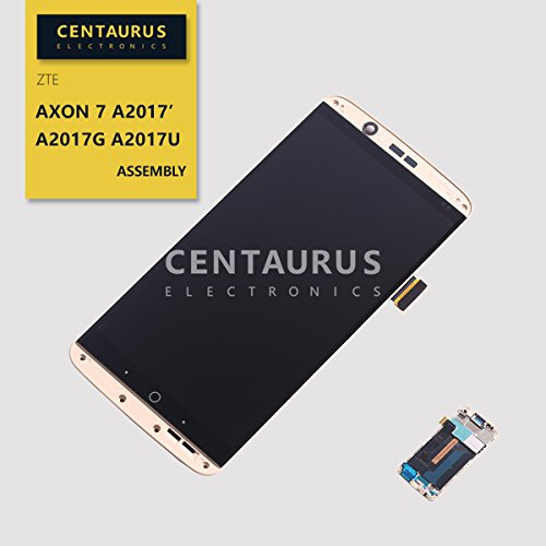 LCD Screen Frame Replacement for ZTE Axon 7 A2017 A2017G A2017U A7G333 5.5 inch Frame LCD Display Touch Screen Digitizer Glass Assembly Full Replacement Part (Frame Gold)