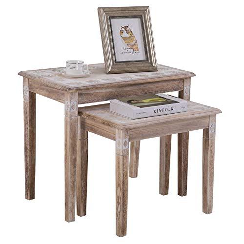 CARO-Möbel Beistelltisch Riley Sofatisch 2er Set Wohnzimmertisch im Vintage Landhausstil Shabby chic
