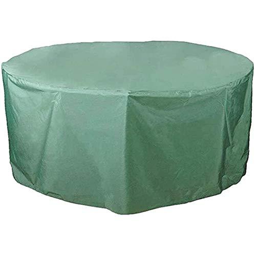 FUSHOU-Funda Muebles Jardin, Cubierta para muebles de patio Cubiertas redondas impermeables para mesas de patio resistentes para exteriores Cubiertas de invierno anti-nieve a prueba de viento, Verde