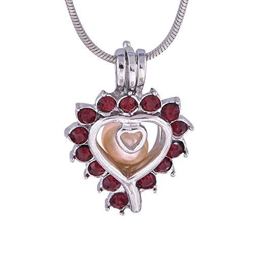 XIANGAI Elegant openable And Open Pearl Cage Pendant Red Diamond Heart Shape