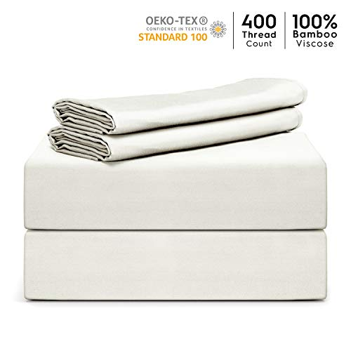 """Tafts Bamboo Sheets Queen Size - 100% Pure Organic Viscose Bamboo Sheet Set - 400TC Bamboo Bed Sheets - 4 Pieces - 17"""" Deep Pocket - Silk Feel, Cooling, Anti-Static, Hypoallergenic (Ivory White)"""