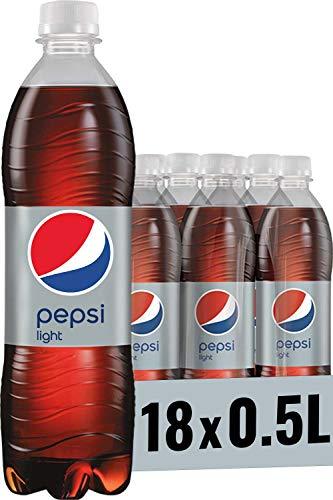 Pepsi Light, Das zuckerfreie Erfrischungsgetränk von Pepsi, Koffeinhaltige Cola in der Flasche (18 x 0,5l)