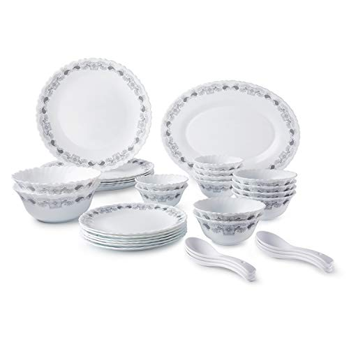 Amazon Brand – SolimoOpalware Dinner Set, 33 Pieces (Ivory)
