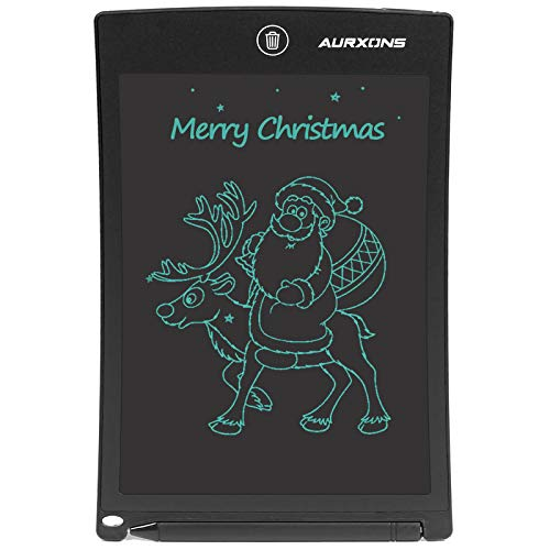 """AURXONS LCD Writing Tablet, 8.5"""" Electronic Writing Drawing Pad, Doodle Board, Erasable Handwriting Tablet, Portable Ewriter for Kids Adults at Home School Office Black"""
