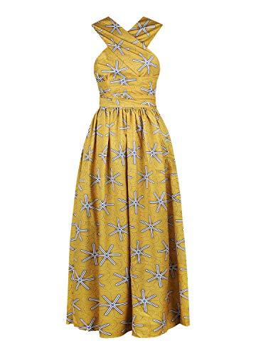 Tynora Women's Sexy African Boho Print Maxi Long Dress Multiway High Waist Party Cocktail Dress(Yellow Starfish L)