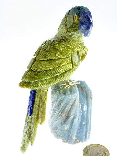 Marmor Deko Schmuck Edelstein - Halbedelstein Figur Papagei Vogel