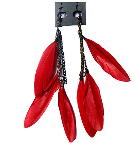 Kanggest 1Par Largos Mujer Flecos Pendientes Moda Niña Bohemia pluma Aretes Pendientes para Vacaciones y Playa Joyería Accesorios(Rojo)
