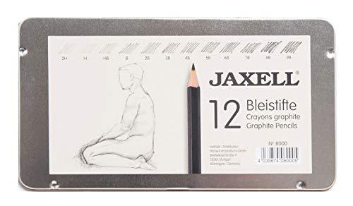 Honsell 8000 - Jaxell potlodenset, 12 potloden in metalen doos, hardheidsgraad zwart gelakt, niet-giftig Hardheid van 2H - 9B multicolor