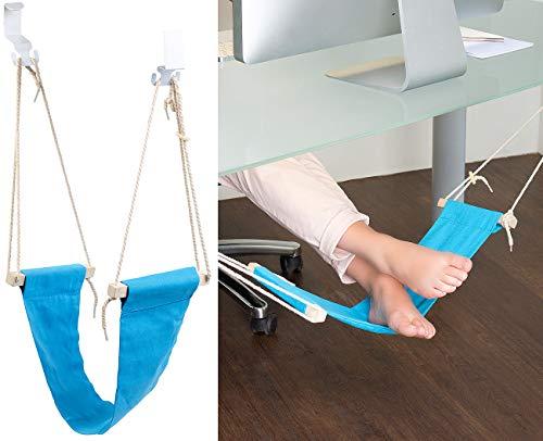 PEARL Fußauflage: Fuß-Hängematte mit Echtholz-Stäben, zum Einhängen unterm Tisch, 60 cm (Fußhängematte Schreibtisch)