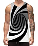 Freshhoodies Funny Tank Tops for Men Summer Black Stylish Sleeveless Shirts Novelty Rave Tank Tops for Teen Boys (A1-Swirl, Small)