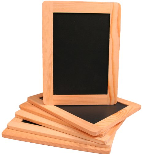 Creative Hobbies Synthetic Chalkboard with Unfinished Wood Frame 4 x 6 Inch -Pack of 6 Chalkboards