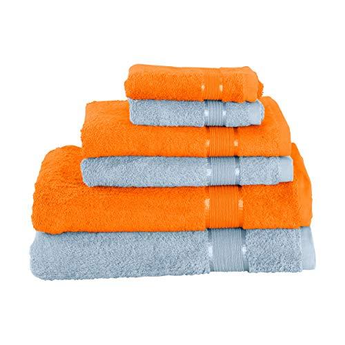 Mixibaby Juego de 6 toallas (2 toallas de baño, 2 toallas de ducha, 2 toallas de manos, 2 toallas de mano, color azul bebé)