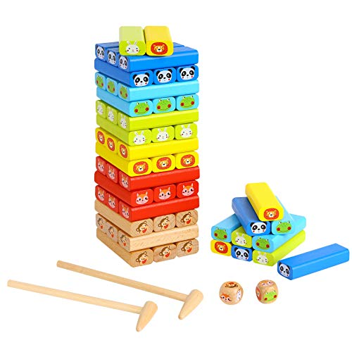 Tookyland Wooden Blocks Stacking Game-Colorful Classic Tumbling Tower Balancing Game with Animal Patterns for Kids Ages 3+, 24 Animal Cards, 2 Dices and 2 Gavels Included (82PCS)