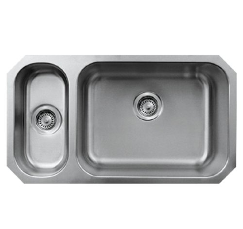 Whitehaus WHNDBU3118GDL-BSS Noah'S Collection 32 1/4-Inch Double Bowl Undermount Disposal Sink, Brushed Stainless Steel