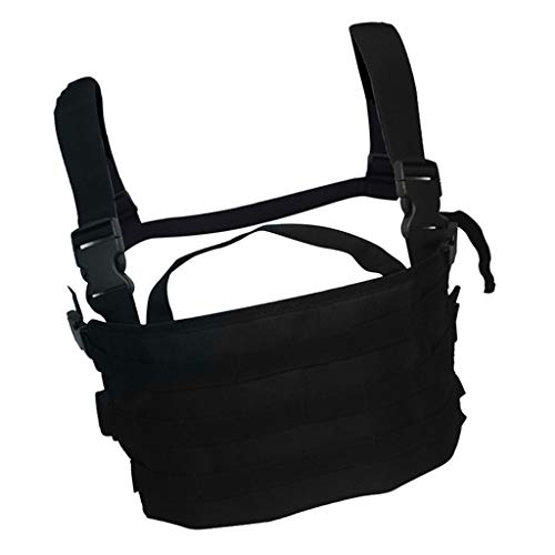 HomeDecTime Chest Rig 17x8 Pulgadas Bolsas para Revistas Chaleco Bolsas para General MOLLE Ajustable - Negro