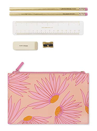 Kate Spade New York Pink Floral Pencil Pouch Including 2 Pencils, Sharpener, Eraser, and Ruler School Supplies, Falling Flower