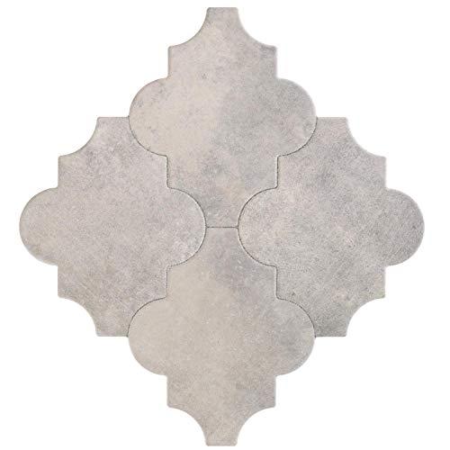 Casa Moro Marokkanische Fliesen Risha 45x45 cm 1m² mit Arabesque Form mit Betonoptik | Orientalische Keramikfliesen für Boden & Wand | FL2037
