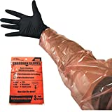 Deer Gutting Gloves by Guardian Hunting - Field dressing gloves with long and short gut glove combo pack (Black / Orange, 3 pack (6 pairs))