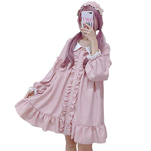 Himifashion Lolita Dress, Constellation Peter Pan Kragen Dolly Pink Dress Damen