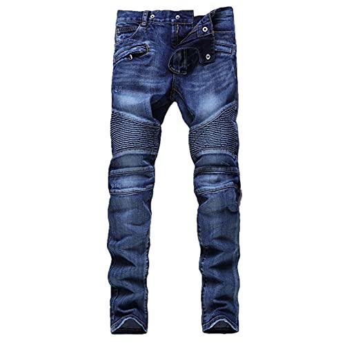N\P Men's Jeans Slim Straight Zipper Pleated Men's