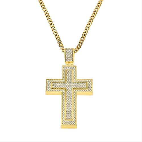 CEXTT Joyería Helada out Doble Cross Colgante Collar para Hombres Regalos Cadena de Oro Rhinestone Colgante Colgante 70 cm