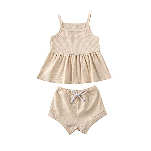 Newborn Infant Baby Girl Summer Clothes Knitted Suspender Dress Ruffle Tops+Shorts Pants Solid Outfits Set (Beige, 6-12M)