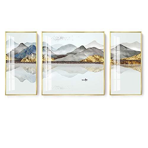 ZSYUN Goldene Berge Grau Wolken Mountain Lake Boot Geese Muster-Leinwand-Material Dekorative Malerei DREI Wandmalereien Eingangshalle Wohnzimmer Sofa Rückwanddekoration