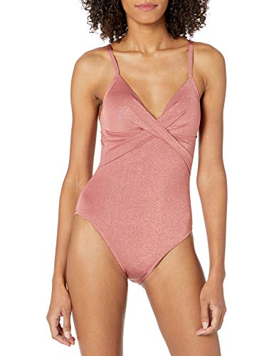Kenneth Cole New York Women's Over The Shoulder Push Up Mio One Piece Swimsuit, Rose//Day Glow, L
