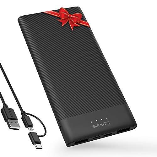 Omars Power Bank 10000mAh tragbares Ladegerät Ultra Slim Powerbank mit USB-C und 2 x USB EIN dreifacher Akku für iPhone 11/X/8/8Plus, iPad, Samsung Galaxy/Note und weitere Smartphones und Pads