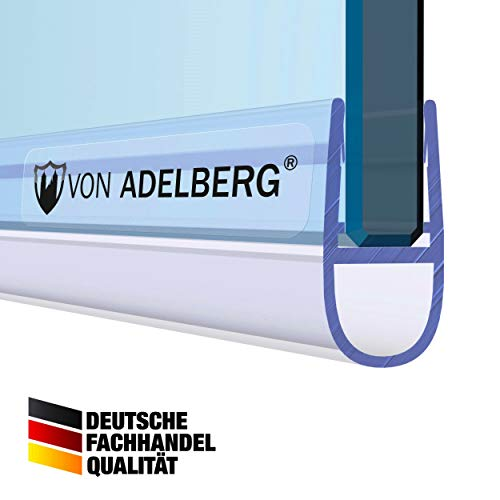 VON ADELBERG Duschdichtung Wasserabweiser Gerade PVC Ersatzdichtung für Dusche Typ: VA007 - Länge: 40 bis 200 cm - Glasstärke: 6, 8, 10, 12 mm, Dichtung Länge:190 cm, Glasstärke:6 mm