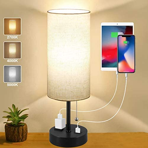 Bedside Lamps with USB Port and Charging Outlet Small Black Modern Desk Lamp 3 Color Temperatures product image