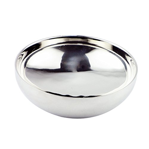 gazechimp Ciotola Coreana in Metallo per Noodle Udon Ramen Bibimbab Piatto Da Tavola Argento Doppia Parete Silver - 22cm