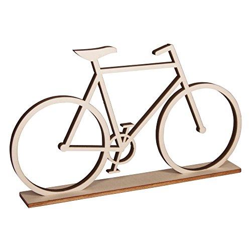 Rayher 62814000 Fahrrad aus Holz, mit Holzständer zum Stellen, FSC zertifiziert, 20 x 11 cm, Dekofahrrad für Geldgeschenke