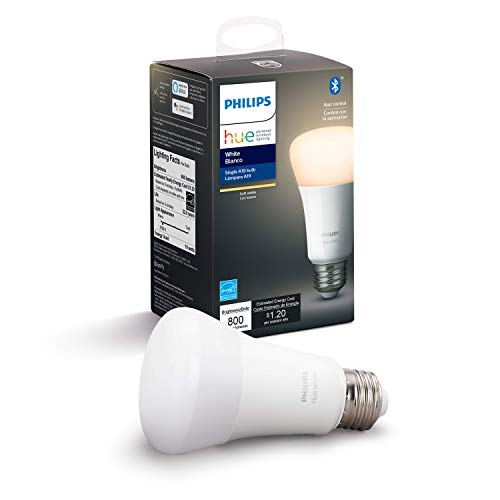 Hue White 2-Pack A19 LED Smart Bulb, Bluetooth & Zigbee Compatible (Hue Hub Optional), Voice Activated With Alexa, A Certified for Humans Device