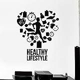 HGFDHG Calcomanía de Pared de Estilo de Vida Saludable para Correr, Gimnasio, Cardio, Vinilo, Pegatina para Ventana, decoración de Interiores, Sala de Estar, corazón Creativo