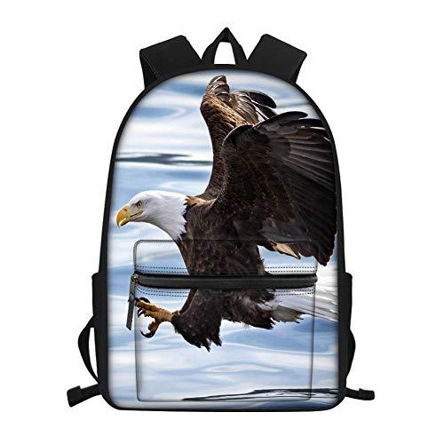 Patrón de águila depredador de Aves aéreas Mochilas,Mochilas Escolares Juveniles, Mochila para niños,Casual Lona Daypacks Bolso de Escuela con Cremallera