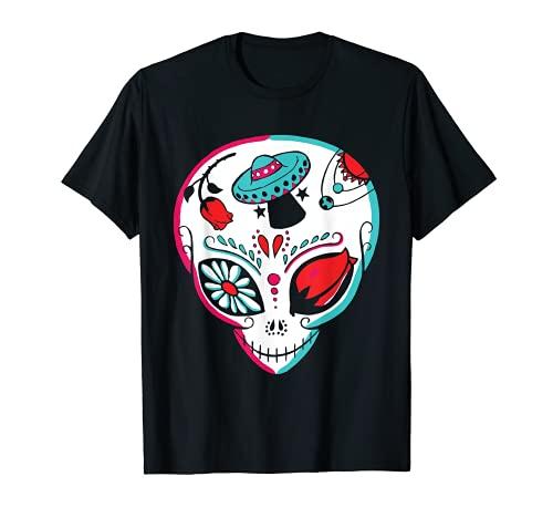 Alien Sugar Skull Dia De Los Muertos Mexicano Da De Muertos Camiseta
