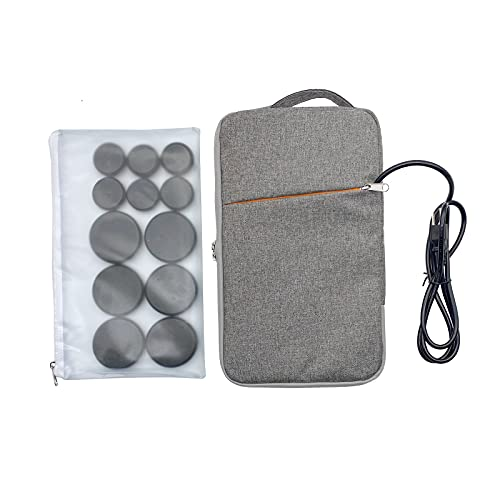Portable Hot Stones Massage Set with Warmer Kit with 12 PCS Basalt Stones/Massage Stone kit Heater Bag for Relax Muscles Home Spa Health Natural Massage Treatment Use for Pain Relief