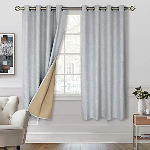BGment 100% Blackout Curtains with Liner for Bedroom, Grommets Thermal Insulated Textured Linen Lined Curtains for Living Room ( 52 x 63 Inches, 2 Panels, Grey )