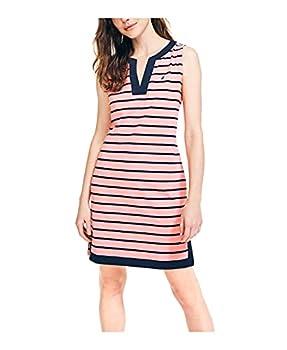 Nautica Women s Breton Stripes Sleeveless V-Neck Stretch Cotton Polo Dress Pale Coral X-Small