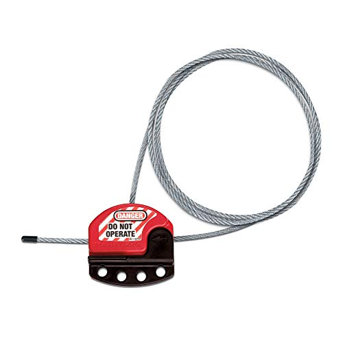 Master Lock S806 Adjustable Lockout Tagout Steel Cable, Black/Red