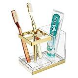 mDesign Soporte para cepillos de dientes independiente – Portacepillos con espacio para 4 cepillos dentales y dentífrico – Organizador de productos de higiene dental – transparente/dorado latón