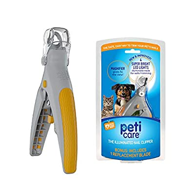 Allstar Innovations PetiCare LED Light Pet Nail Clipper- Great for Trimming Cats & Dogs Nails & Claws, 5X Magnification That Doubles as a Nail Trapper, Quick-Clip, Steal Blades from Allstar Innovations