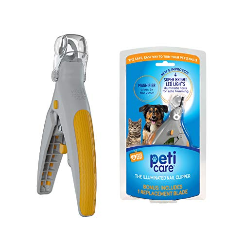 Allstar Innovations PetiCare LED Light Pet Nail Clipper- Great for Trimming Cats & Dogs Nails & Claws, 5X Magnification That Doubles as a Nail...