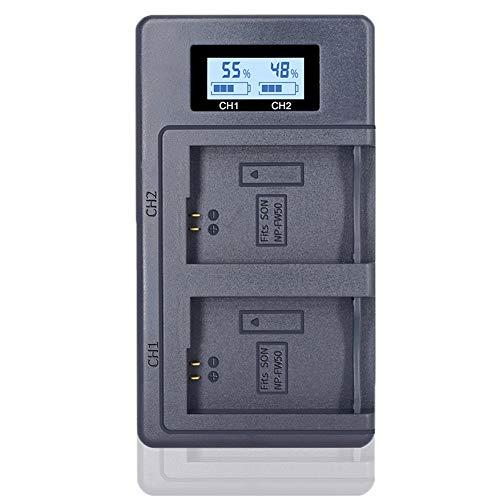 CITYORK NP-FW50 Carregador duplo rápido para Sony Alpha a7, a7 II, a7R, a7R II, a7S, a7S II, NEX-3, NEX-3N, NEX-5, NEX-5N, NEX-5R, NEX-5T, NEX -6, NEX-7, NEX-C3, NEX-F3, SLT-A33- Carregador atualizado