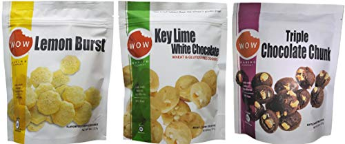 Wow Baking Moist, Chewy, Delicious Cookies | Certified Gluten Free | Simple All Natural Ingredients | 3 Pack Assortment (Lemon, Key Lime & Triple Chocolate Chunk)